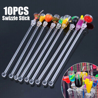 10x Acrylic Cocktail Drink Swizzle Stir Sticks Spoon Drink Stirrers Party Bar