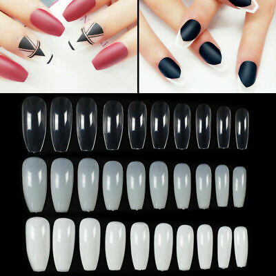 600Pc Ballerina Coffin Full Cover Artificial False Nail Tips-Natural/Clear/Whi
