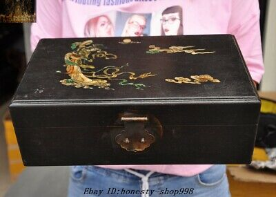 """12""""Old Chinese Rosewood Wood inlay Shell Ancient Belle fairy Jewelry storage Box"""