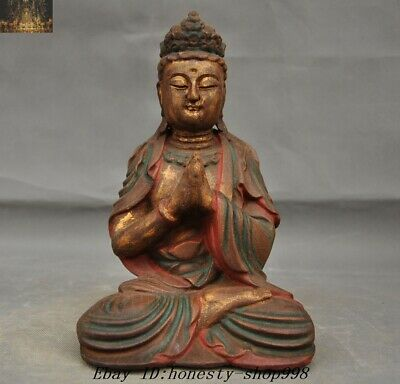 Chinese buddhism temple Old Wood Carved Guanyin Kwan-yin buddha Quanyin Statue
