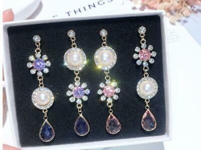 amber pink or purple Crystal Rhinestone Chandelier Drop Dangle Earrings Prom