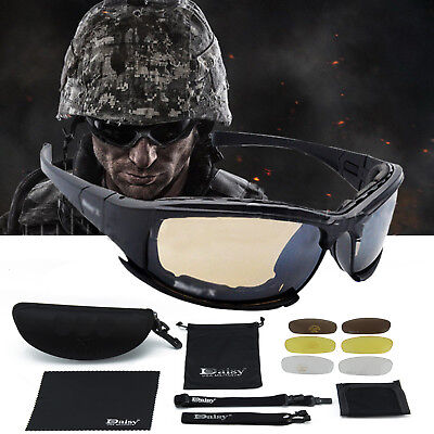 X7 Military Tactical Goggles+ 4 Lens Motorcycle Riding Glasses Eyewear UK 2018