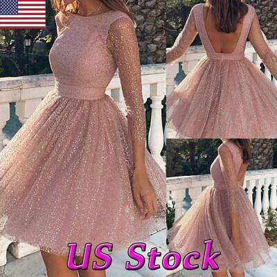 New Women Formal Bridesmaid Wedding Prom Gown Evening Party Cocktail Mini Dress