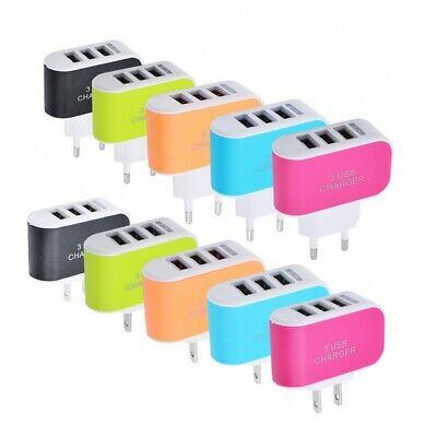 3-Ports USB Multi Adapter Travel Wall AC Charger EU/US Plug for Phones 3.1A KY