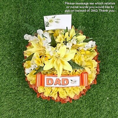 Round Posy Artificial Funeral Tribute Flowers Wreath Orange, Yellow, Silver Star