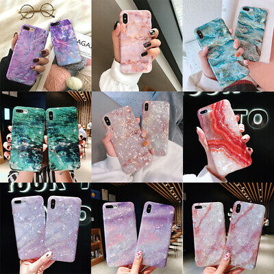 Phone Case For iPhone 6 7 8 + X XR Simple Crystal Marble Shockproof Cover Shell