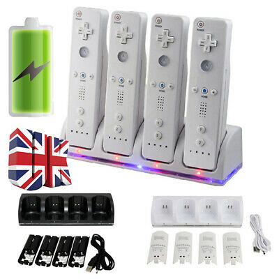 For Wii Remote Controller 4 PCS Rechargeable Batteries & Charger Dock Station UK