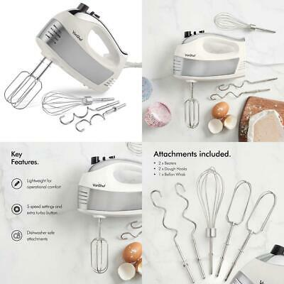 VonShef 400W Cream Hand Mixer – Includes Stainless Steel Beaters, Dough