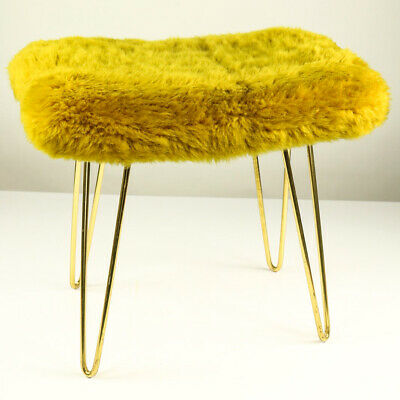 Flokati Polster Fell Hocker Schlaufenfüße Messing Vintage Hairpin Stool 50er