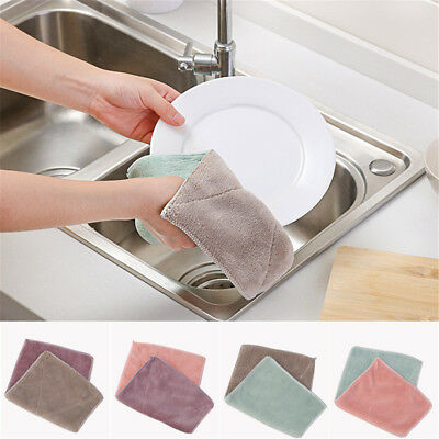 6pcs Anti-grease Dishcloth Duster Wash Cloth Hand Towel Cleaning Wiping Rags+V T