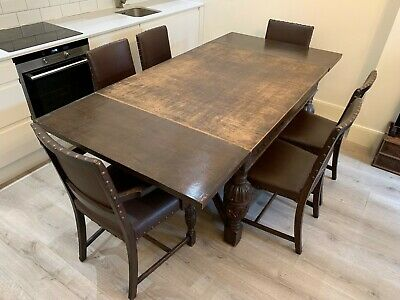 HARRODS ENGLISH HAND CARVED OAK DINING TABLE CHAIRS 1940's 30's WW2 CHIPPENDALE