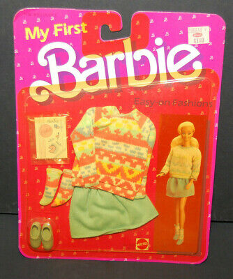 #7918 Easy On Fashions My First Barbie doll NRFB Sweater & skirt 1984 Superstar