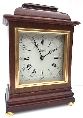 Comitti Of London Quartz Mahogany Mantel Clock With Silvered Dial