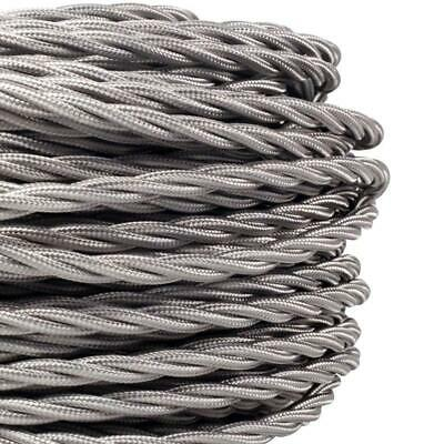 5 Meters 3 Core Grey Cable Vintage Antique Braided Twisted 5M
