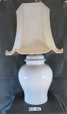 Table Lamp in Ceramic Craquelé Lampshade Vintage for Living Room R130