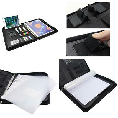 Conference Folder A4 zipped with handle calculate ring binder, Black-2