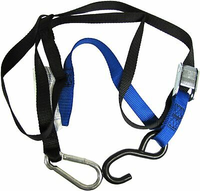 Tie Downs 25mm wide Blue/Black with hook & snap hook (Pair)