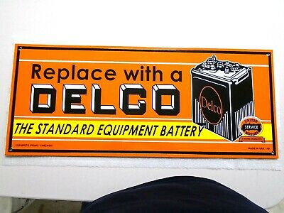 Vintage 1949 Double Sided Delco Battery Porcelain Gas Station Pump Sign Nm