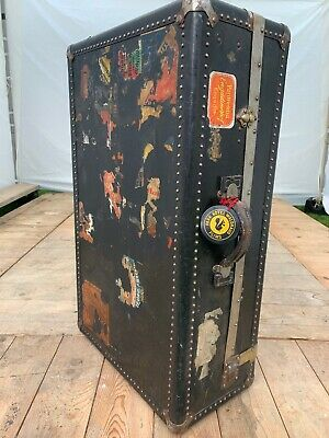 Very Rare Antique Turn Of The Century 1910-1920 Steamer Wardrobe Travel Trunk