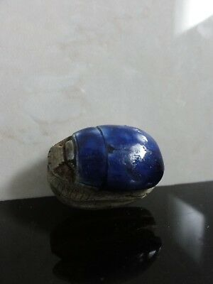 Vtg Beautiful Lapis Blue Glazed Faience Big Scarab Egyptian Revival