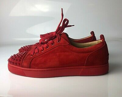 release date ff6e4 0ff7f CHRISTIAN LOUBOUTIN LOUIS Junior Spikes Red Suede MEN Sneakers Eu 43 US 10