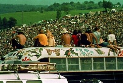 Woodstock 1969 (2) 4x6 Glossy Photos +  (3rd) Free Overhead View of Crowd Photo