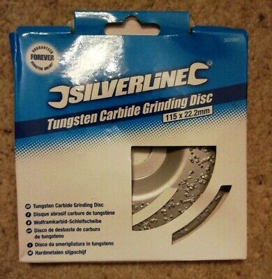 Silverline 302067 Tungsten Carbide Grinding Disc 115 x 22.2mm for Concrete Tile