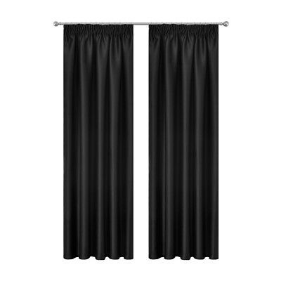 Art Queen 2X Blockout Curtains Pinch Pleat Blackout Room Darkening BK 240x213cm