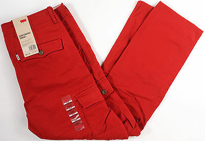 Levi's Slim Straight Stretch CARGO 1 pant-34- NEW-dk RED levis jeans/trouser-513