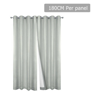 Art Queen 2X Textured Blockout Eyelet Curtains Blackout Room Darkening 180X230CM