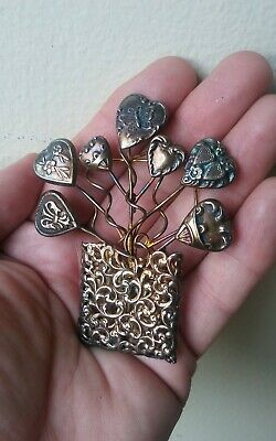 Rare Large Antique Sterling Silver Puffy Heart Stickpin Brooch Pin GORGEOUS
