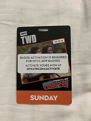 NYCC 2019 New York Comic Con Sunday Fan Verified Badge/Ticket