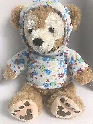 Duffy The Disney Bear with 2011 Hoodie Disney Parks Hidden Mickey 13 Inch Plush