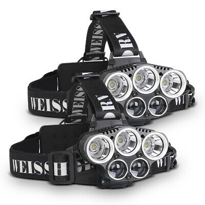 2X WEISSHORN LED Headlamp Rechargeable Head Light Lamp Torch 50000LM XML T6 Q5