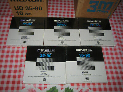 """Lot of 5 NOS sealed Maxell UD 35-90 reel tape ¼"""" X 1800"""