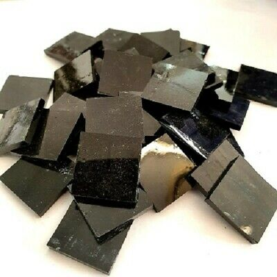 Stained Glass Squares 20x20x3mm - Black - 200 grams