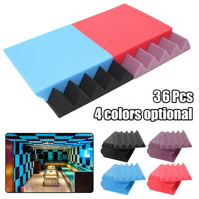 6- 36PCS Studio Acoustic Foam Panel Sound Absorption Proofing Treatment Wedge