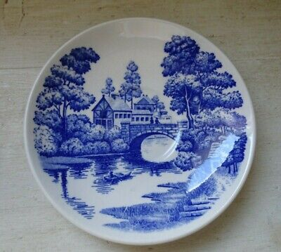 NASCO Vintage Hand Painted Blue & White Bread Porcelain Plate Lakeview Japan 6""