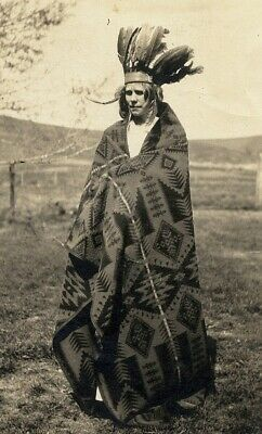Pretend INDIAN CHIEF w NAVAJO BLANKET old photo 1910 FEATHER HEADDRESS Bonnet