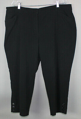 ROZ & ALI Size 18 Black Cropped Pants Stretch Tummy Control Machine Washable