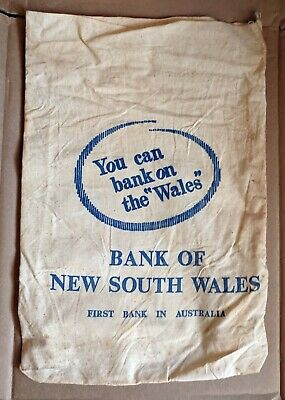 Vintage Bank Of New South Wales Calico Coin Cash Bag You Can Bank On The Wales B