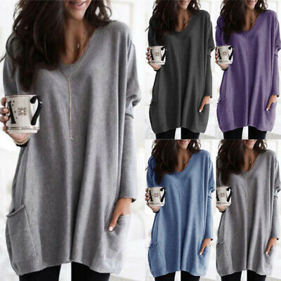 Womens Plus Size Blouse Top Ladies Long Sleeve Loose Fit Pocket Jumper TShirt