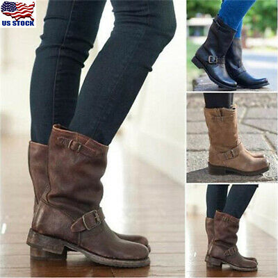 Women's Winter Buckle Mid Calf Knee Boots Flats Leather Slip On Boots Shoes Size