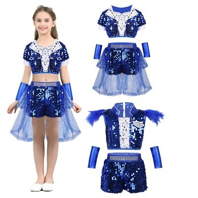 Girls Hip-hop Jazz Dance Outfit Sequins Kids Shiny Performance Costume Dancewear