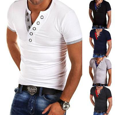 Men's Slim Fit Short Sleeve Henley Shirts Casual Button Muscle Tops Tee T-Shirts