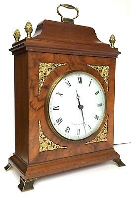 Comitti Of London Walnut And Brass Mounted Mantel Clock With White Dial Regency