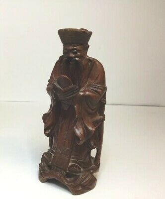 """NICE Quality VINTAGE CHINESE ROOT CARVING FIGURE MAN 6"""" TALL WOODEN."""