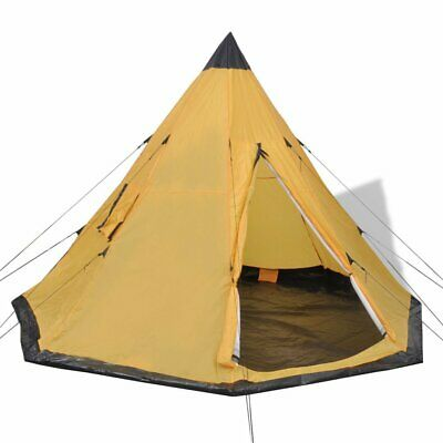 vidaXL 4 Person Outdoor Tent Yellow A-Frame Shape Polyester and iron