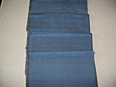 """4  Blue Dinner Cloth Napkins  With Fringe 18""""x18"""" Cotton/polyester In Lot"""