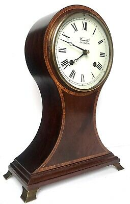Comitti Of London Striking Mahogany Regency Balloon Mantel Clock With White Dial